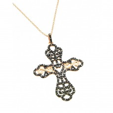 **Closeout** Sterling Silver Rose Gold Plated Black and Clear Cross CZ Dangling Inlay Necklace - BGP00696