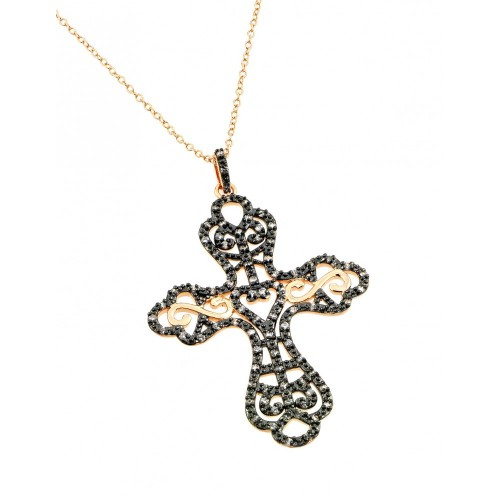 -Closeout- Wholesale Sterling Silver 925 Rose Gold Plated Black and Clear Cross CZ Dangling Inlay Necklace - BGP00696