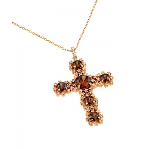 -Closeout- Wholesale Sterling Silver 925 Rose Gold Plated Champagne CZ Cross Necklace - BGP00700