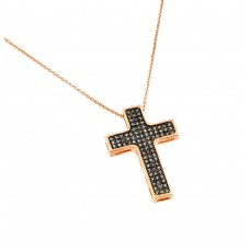 **Closeout** Sterling Silver Rose Gold Plated Black and Clear Cross CZ Necklace - BGP00704