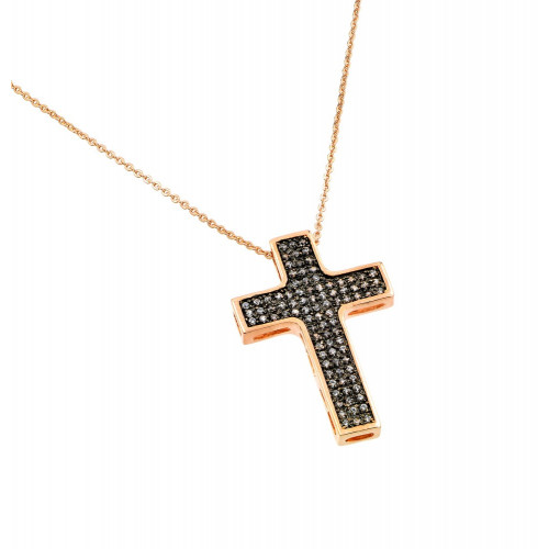 -Closeout- Wholesale Sterling Silver 925 Rose Gold Plated Black and Clear Cross CZ Necklace - BGP00704