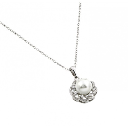 Wholesale Sterling Silver 925 Rhodium Plated Flower CZ Center Pearl Necklace - BGP00707