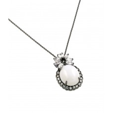 ***CLOSEOUT*** Sterling Silver Rhodium Plated Flower Black and Clear CZ Center Pearl Necklace - BGP00709