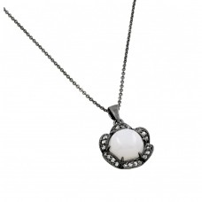 ***CLOSEOUT*** Sterling Silver Black Rhodium Plated CZ Inlay Center Pearl Necklace - BGP00710