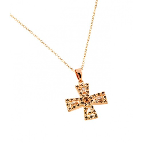 -Closeout- Wholesale Sterling Silver 925 Rose Gold Plated Cross Black and Red and Clear CZ Necklace - BGP00711