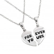 Wholesale Sterling Silver 925 Rhodium Plated Forever Yours Broken Heart Necklace - BGP00767