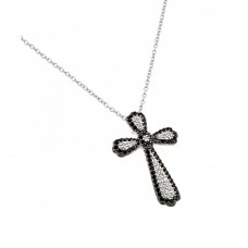 Wholesale Sterling Silver 925 Black and Clear Rhodium Plated Cross CZ Necklace - BGP00778