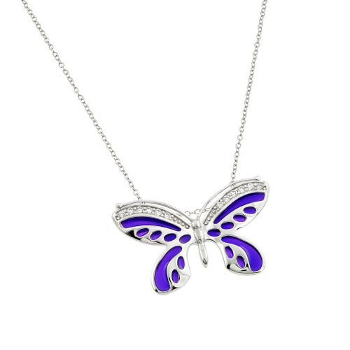 Wholesale Sterling Silver 925 Rhodium Plated Purple Enamel Butterfly Clear CZ Inlay Necklace - BGP00811