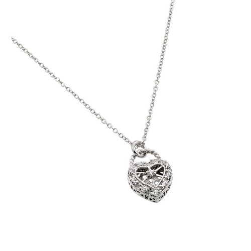 Wholesale Sterling Silver 925 Rhodium Plated Clear CZ Center Open Heart Pendant Necklace - BGP00822