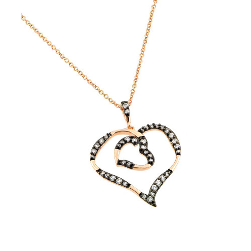Wholesale Sterling Silver 925 Rhodium and Black Rhodium Plated Clear CZ Open Heart with Inner Open Heart Pendant Necklace - BGP00832RGP