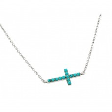 Wholesale Sterling Silver 925 Rhodium Plated Sideways Cross with Turquoise Stones Pendant Necklace - BGP00833
