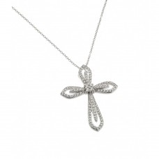 Wholesale Sterling Silver 925 Rhodium Plated Clear CZ at Center Open Cross Pendant Necklace - BGP00836