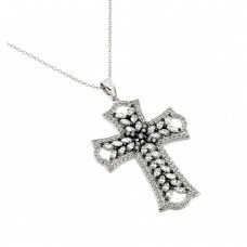 Wholesale Sterling Silver 925 Rhodium Plated Clear CZ Stone Cross in Black Setting Pendant Necklace - BGP00843CLR