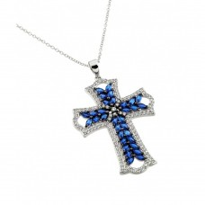 Wholesale Sterling Silver 925 Rhodium Plated Clear and Blue CZ Stone Cross in Black Setting Pendant Necklace - BGP00843B