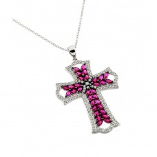 Wholesale Sterling Silver 925 Rhodium Plated Clear and Pink Red CZ Stone Cross in Black Pendant Necklace - BGP00843R