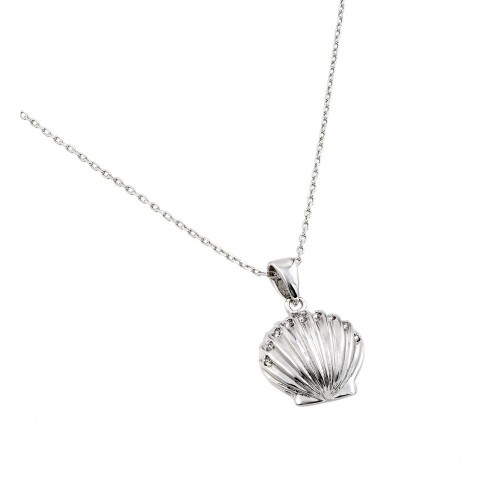 Wholesale Sterling Silver 925 Rhodium Plated Clear CZ Stone Clam Shell Pendant Necklace - BGP00848