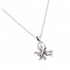 Sterling Silver Rhodium Plated Clear CZ Stone Octopus Pendant Necklace - BGP00849