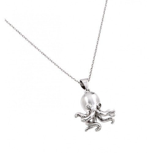 Wholesale Sterling Silver 925 Rhodium Plated Clear CZ Stone Octopus Pendant Necklace - BGP00849