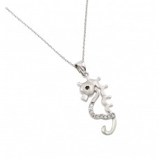 Sterling Silver Rhodium Plated Clear CZ Stone Open Horse Pendant Necklace - BGP00850