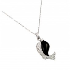 Sterling Silver Rhodium Plated Clear CZ Stone Onyx Whale Pendant Necklace - BGP00855BLK