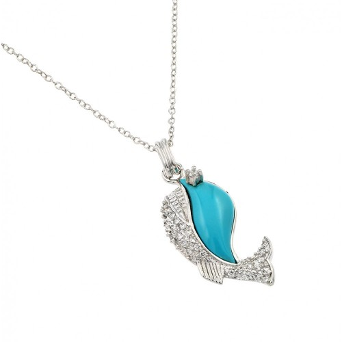 Wholesale Sterling Silver 925 Rhodium Plated Clear CZ Stone Turquoise Blue Whale Pendant Necklace - BGP00855TQ