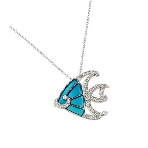Wholesale Sterling Silver 925 Rhodium and Black Rhodium Plated Clear CZ Stone Blue Fish Pendant Necklace - BGP00856