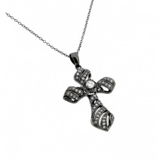 Wholesale Sterling Silver 925 Black Rhodium Plated Clear CZ Stone Cross Pendant Necklace - BGP00859