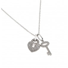 Sterling Silver Rhodium Plated Clear CZ Lock and Key Pendant Necklace - BGP00860