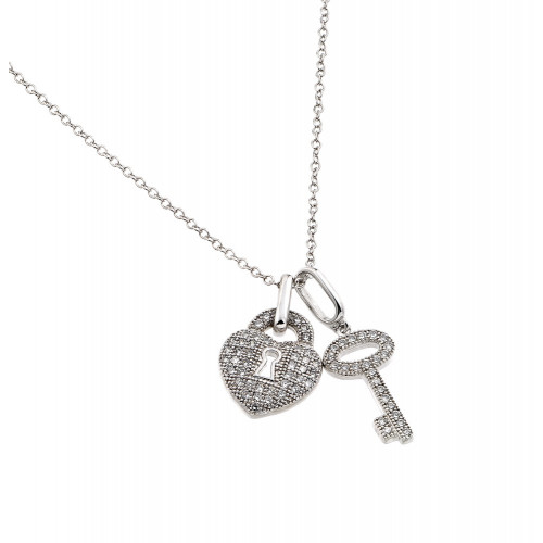 Wholesale Sterling Silver 925 Rhodium Plated Clear CZ Lock and Key Pendant Necklace - BGP00860