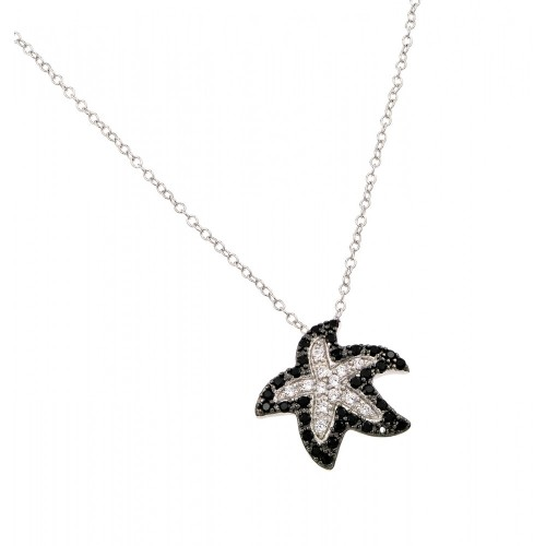 Wholesale Sterling Silver 925 Rhodium Plated Clear and Black CZ Stone Starfish Pendant Necklace - BGP00862