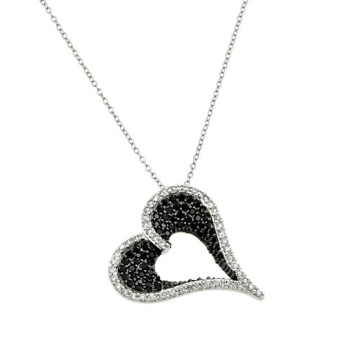 Wholesale Sterling Silver 925 Rhodium Plated Clear and Black CZ Stone Curved Heart Pendant Necklace - BGP00865