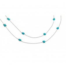 Sterling Silver Rhodium Plated 2 Row Strand Turquoise Stone Pendant Necklace - BGP00871