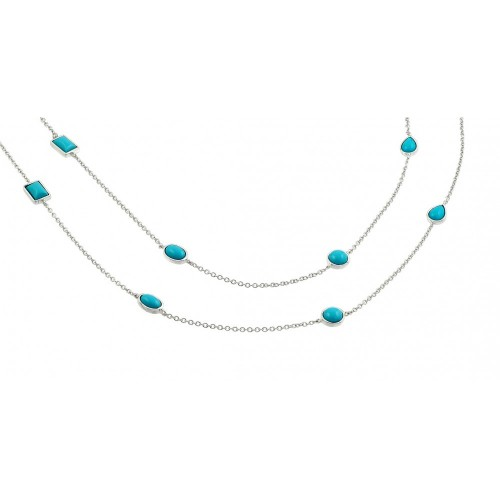 Wholesale Sterling Silver 925 Rhodium Plated 2 Row Strand Turquoise Stone Pendant Necklace - BGP00871