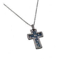 Wholesale Sterling Silver 925 Rhodium Plated Clear and Blue CZ Oxidized Cross Pendant Necklace - BGP00872