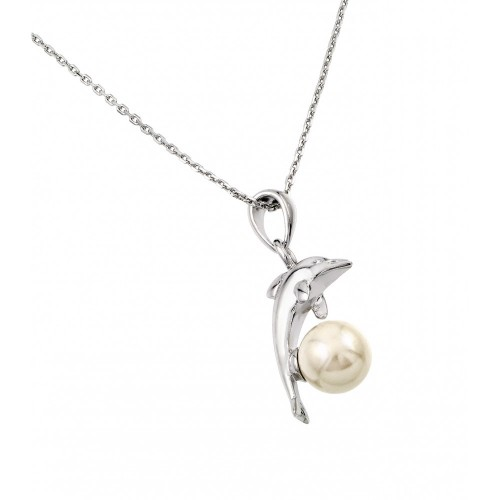 Wholesale Sterling Silver 925 Rhodium Plated Dolphin Leaping Over Pearl Pendant Necklace - BGP00874