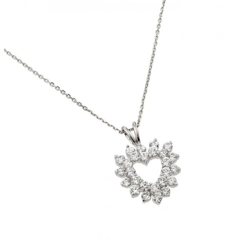 Wholesale Sterling Silver 925 Rhodium Plated Clear CZ Outline Open Heart Pendant Necklace - BGP00876