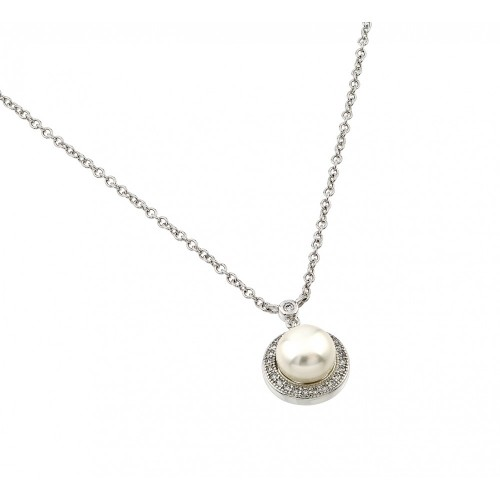Wholesale Sterling Silver 925 Rhodium Plated Clear CZ Round Circle Fresh Water Pearl Necklace - BGP00879
