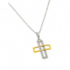 Wholesale Sterling Silver 925 Rhodium and Gold Plated Interlaced Rectangle Cross Pendant Necklace - BGP00884