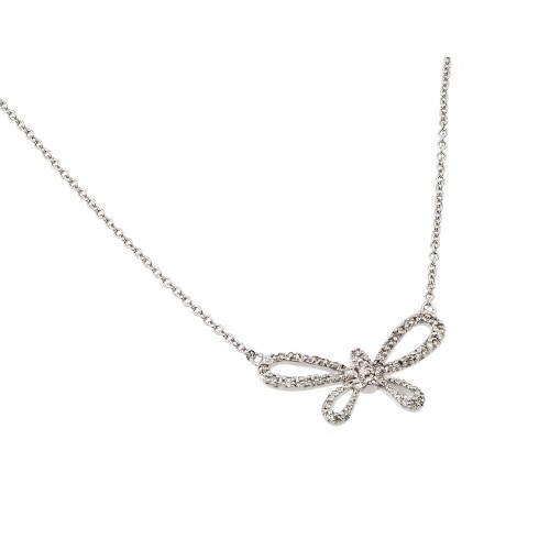 Wholesale Sterling Silver 925 Rhodium Plated Clear CZ Open Wing Wide Butterfly Pendant Necklace - BGP00886