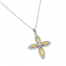 Wholesale Sterling Silver 925 Rhodium Plated Clear and Yellow CZ 4 Petal Flower Pendant Necklace - BGP00890