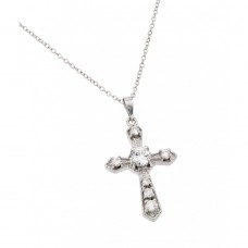 Wholesale Sterling Silver 925 Rhodium Plated Gothic Cross with Clear CZ Stones Pendant Necklace - BGP00891