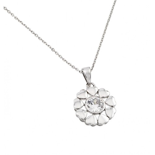 Wholesale Sterling Silver 925 Rhodium Plated Heart Circle Chain with Clear CZ Stone Center Pendant Necklace - BGP00892