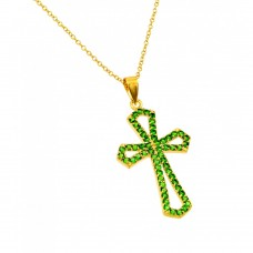 Wholesale Sterling Silver 925 Gold Plated Cross with Green CZ stones Pendant Necklace - BGP00895