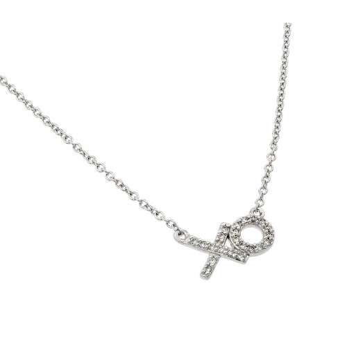 Wholesale Sterling Silver 925 Rhodium Plated Clear CZ XO Pendant Necklace - BGP00896RHD