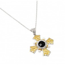 Wholesale Sterling Silver 925 Rhodium and Gold Plated Box Cross with Black CZ Stone Pendant Necklace - BGP00897