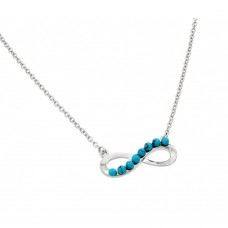 Sterling Silver Rhodium Plated Infinity with Turquoise Stones Pendant Necklace - BGP00898TQ