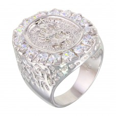 **CLOSEOUT** Wholesale Sterling Silver 925 Rhodium Plated Large Dollar Sign Ring with CZ - BGR00012