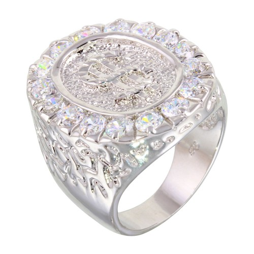 -Closeout- Wholesale Sterling Silver 925 Rhodium Plated Large Dollar Sign Ring with CZ - BGR00012