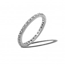 Wholesale Sterling Silver 925 Rhodium Plated Plated Birthstone Inlay Eternity Ring April - BGR00339APR