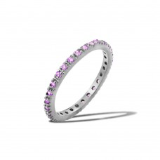 Wholesale Sterling Silver 925 Rhodium Plated Plated Birthstone Inlay Eternity Ring February - BGR00339FEB